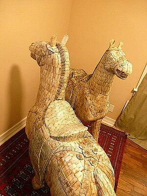 RARE Antique Tang Dynasty Camel Bone Horse Statues - 4' Tall & 4' Long -