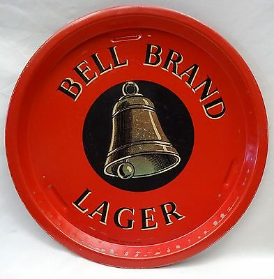 Vintage Advertising Tin Tray Old Bell Brand Lager Red Color Serving Tray Rare #5