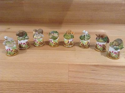 Sutherland Bone China Pewter Thimbles X 8 British Wildlife Handpainted