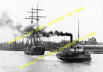 "Photo - Paddle steamer ""Imperial"" towing a ship, Lowestoft, approx 1910"