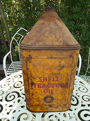 Vintage Shell 40 Tractor Oil 5 Gallon Pyramid Can Garage Cars Motor Shabby Chic