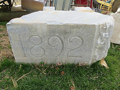 19th Century American Dated 1892 Carved Building Corner Stone Address 36""