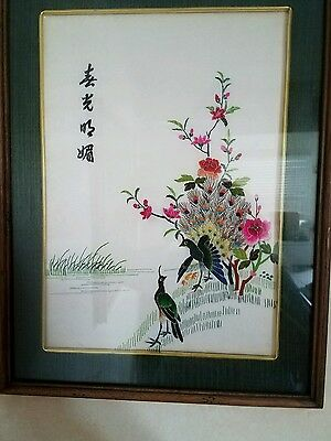 Antique Asian Japanese Art with stitch  Embroidery