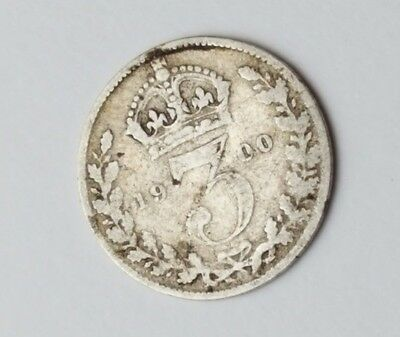 1900 - Silver - 3d Three Pence - Great Britain Queen Victoria - English UK Coin