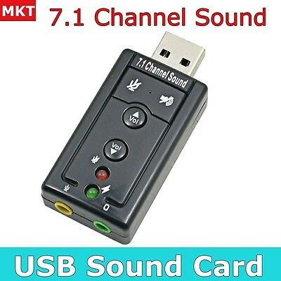 External USB Sound Card Adapter Virtual 7.1 Channel 3D Audio with 3.5mm for PC