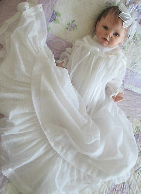 Lovely Christening Gown In Swiss Voile To Fit 3-6 Month Old Infant