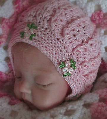 Hand Crocheted Bonnet To Suit Newborn Or Reborn Doll