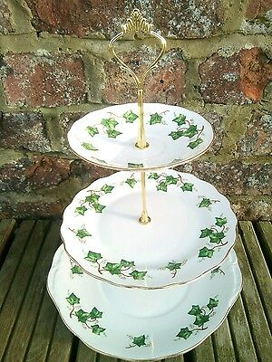 Vintage China Colclough Ivy Leaf 3 Tier Cake Stand Tea Party Wedding Green White