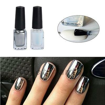 New 2pcs Silver Metal Mirror Effect Nail Art Polish Varnish & Base Coat DIY