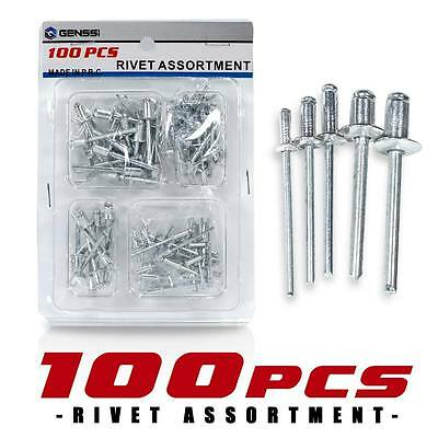 100 Aluminum POP Rivets Set 3/16 7/32 5/16 1/8 1/16 Inch Kit 5 Types