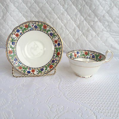 Aynsley England Floral/Art Deco Band Tea Cup & Saucer  from 1925 + Mark (17a)