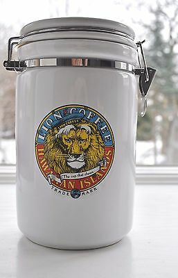 Vintage Lion Coffee Canister Hawaiian Islands Large White Airtight