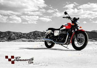 Triumph Bonneville T214 Poster Print. Motorcycle Wall  Photo Art - FREE DELIVERY