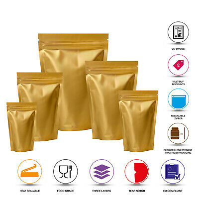 Matt Gold Heat Seal Aluminium Foil Stand Up Bags / Pouches Zip Lock Food Grade