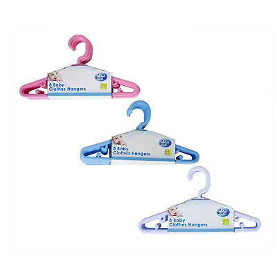 Baby Toddler Clothes Plastic Slim Hangers Nursery Wardrobe Pink Blue White