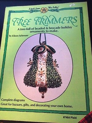 Tree Trimmers Xmas Beaded Ornament Pattern Book Mrs Putter Schreuer Plaid Vtg