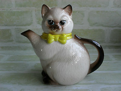 Cute Vintage Ceramic Cat Teapot With Blue Eyes & Yellow Bow - Made In Japan