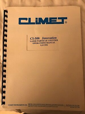 CLIMET CI-500 Innovation Laser Particle Counter Operations Manual 1.0 CFM