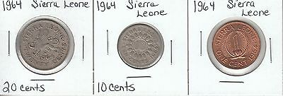 Sierra Leone: Collection of 3 Different Circulation Coins