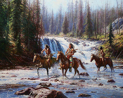 """HD Art Canvas Print Oil Painting Crow, National Park, The Waterfall ,16""""x20"""""""