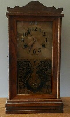 Vintage Waterbury 8 Day Wooden Wind up Chiming Wall Clock with Key works great