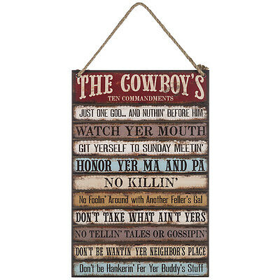 The Cowboy Ten Commandments Mdf Wood Sign Country Western Home Decor