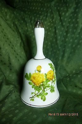 Vintage Enesco Japan Porcelain White Bell with Forget Me Not and Flowers Design
