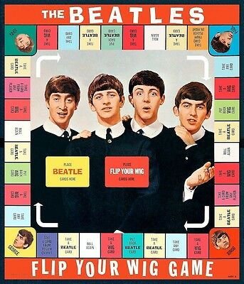 Beatles Flip Your Wig Board Game POSTER 1964 Rare Fab Four Lennon McCartney