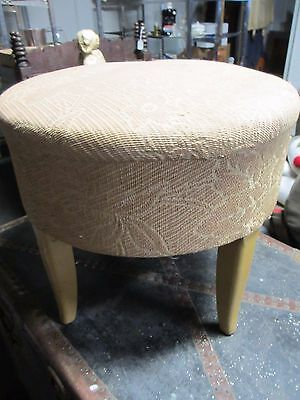 1950s Round Hassock Footstool Vanity Bench to Reupholster Sturdy Base