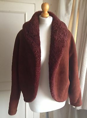 80s/90s NICOLE FARHI  Sheepskin Shearling Crop  Bolero Jacket uk12