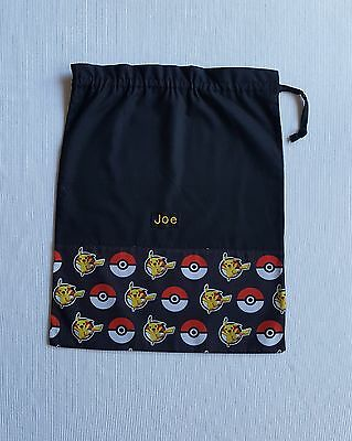 $$ Free Name Black Pokemon Rows Design Personalised Embroidery Library Bag Fd