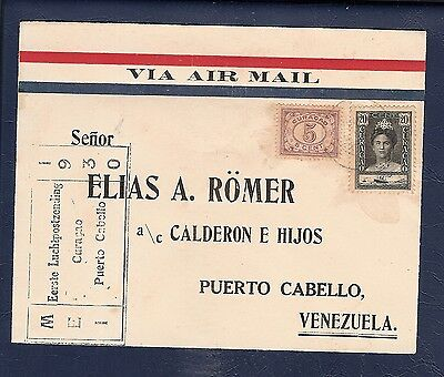 Curacao 1930 FFC First Flight Cover  air mail  to  Puerto Cabello Venezuela ..