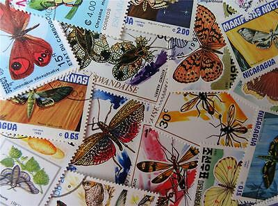 100 Thematic Bugs & Butterflies Stamps Mainly CTO/Mint Unmounted Singles & Sets