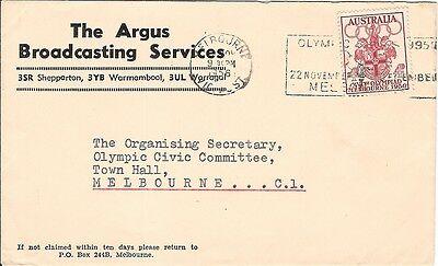 7) Australia Olympic Games 1956 RARE ! cover to ORGANISING COMMITTEE