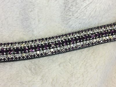 Bling Diamante Dressage Show Browband Purple/Clear Crystal - BLACK