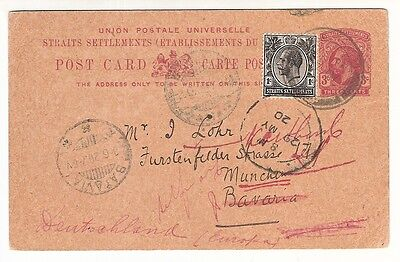 Straits Settlements IPOH 1920 stationery postcard to Bavaria MISSENT to Batavia