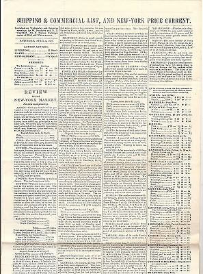 Shipping & comm.List New York Market price current Wall&Waterstreets  1839