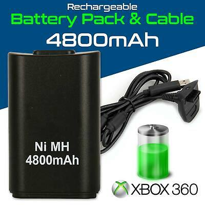 NEW BLACK XBOX 360 PLAY AND CHARGE KIT 3600mAH RECHARGEABLE BATTERY PACK & CABLE