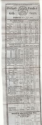 Berlin Boerse Banking /  money changing course aug.1863 geld course