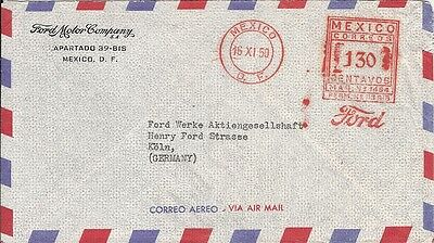mexico 1950 meter stamp cover FORD MOTOR COMPANYautomobile car  Henry Fordstreet
