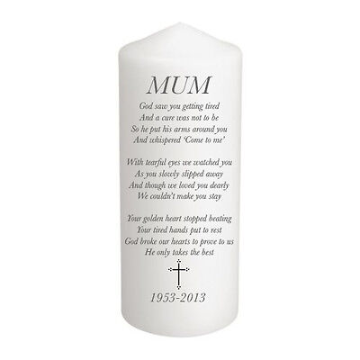 Personalised Poem In Loving Memory Remembrance Candle Gift Keepsake Mum, Dad,etc