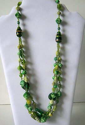 Vintage Multi-Green Three Layer Bead Necklace