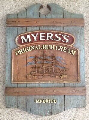 "RARE Vintage MYERS MYERS'S Imported Rum Cream Bar Large 24""x18"" Advertising Sign"