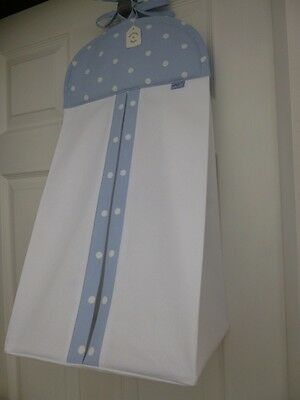 Bespoke Baby Nappy Stacker - Clarke & Clarke Blue/White 'Dotty'  Trim - BNWT