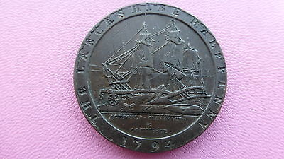 Lancashire halfpenny token 1794 RARE  Reduced to SELL !!!!!!!!