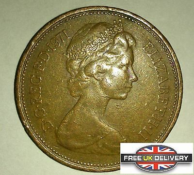 New Pence 2p Coin 1971 Queen Elizabeth FREE SHIPPING