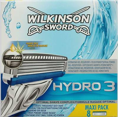 Genuine!!! Wilkinson Sword Hydro 3 Blades Pack of 8 - FREE 1ST CLASS POST.