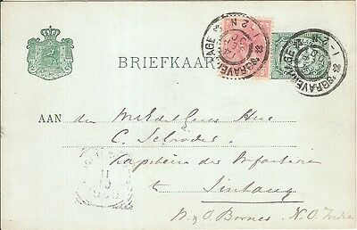 Netherlands Indies AGENT SINGAPORE 1900 stationery postcard to Sintang