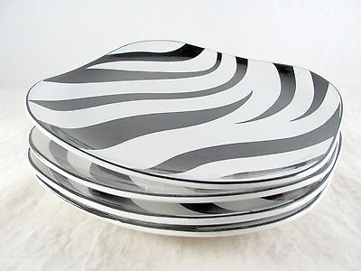 "4 Sango Kenya Black Salad Plates, 7-1/2"", Quadrille, square, zebra stripes"