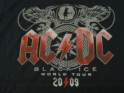 AC/DC front back logo Black Ice Tour blue colored shirt Angus Young MEDIUM NWOT